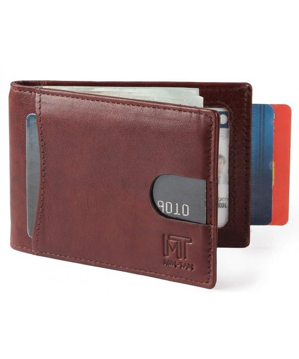 13971df22430 RFID Blocking Slim Bifold Genuine Leather Minimalist Front Pocket Wallets  for Men with Money Clip - Marron - C118G7ZNK63