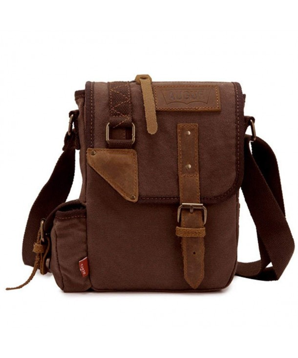 CLELO Canvas Genuine Leather Messenger
