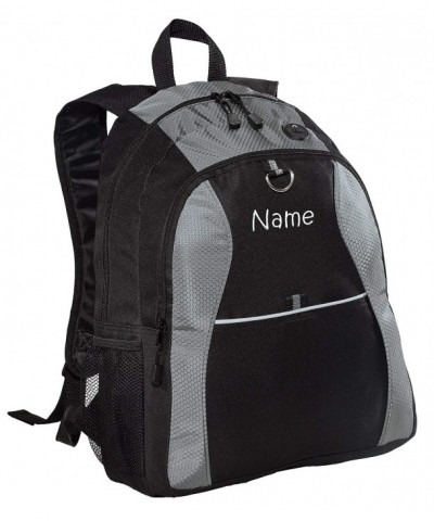 Personalized Grey Contrast Backpack Embroidered