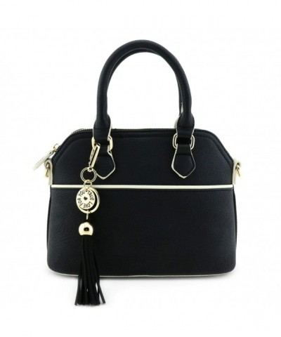 Satchel Crossbody Tassel Accent Black