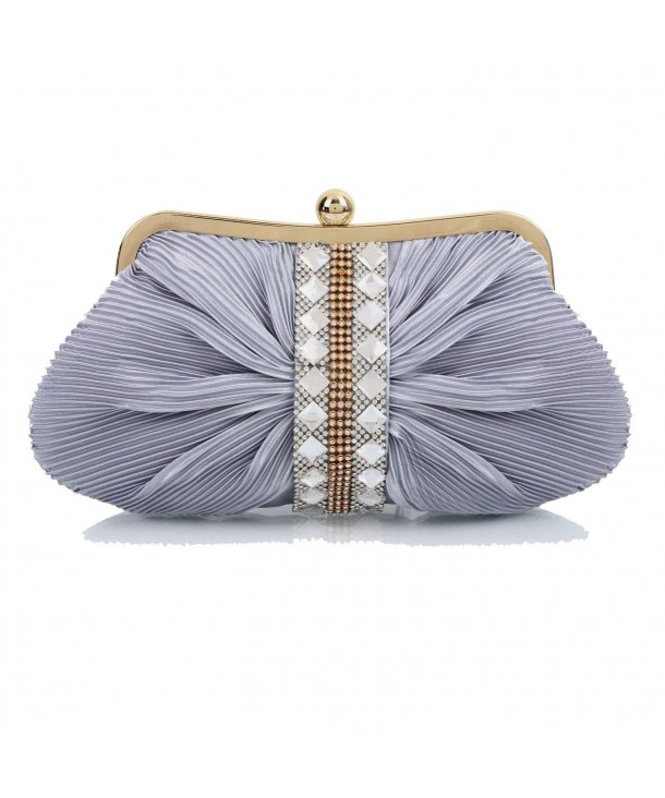 f789ce6894a9 Womens Wedding Clutch Crystals Pleated Satin Shoulder Bags - Grey -  CK11OOHRK3R