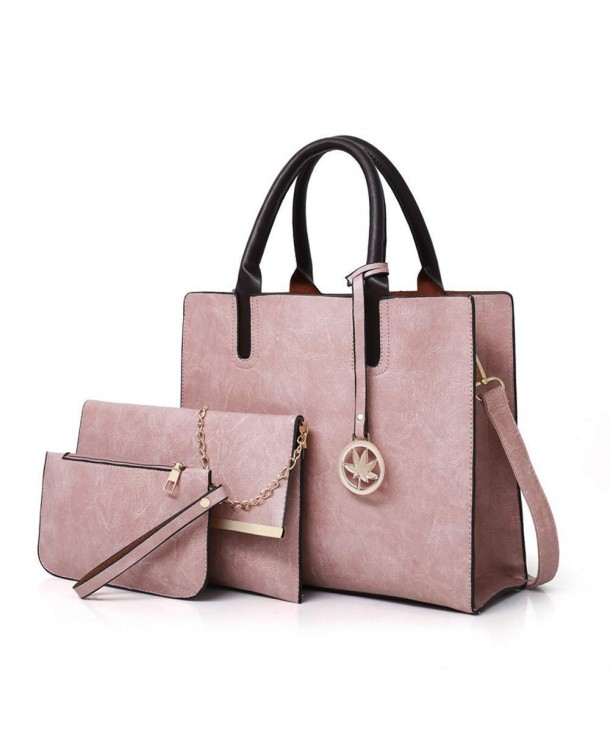 hot-selling authentic run shoes big discount sale Designer Purses and Handbags Sets for Women Leather Satchel Tote Shoulder  Bag 3pcs - Pink - C418HO5WU8T