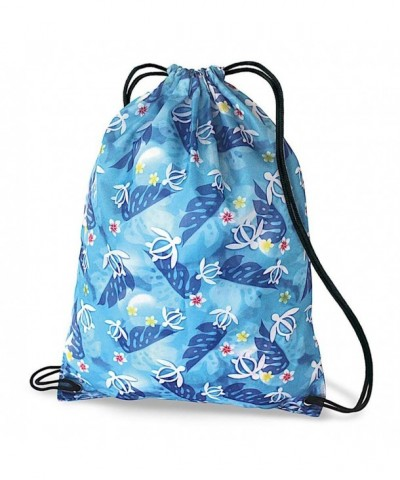 Hawaiian Drawstring Backpack Turtle Floral
