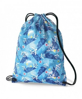 Hawaiian Drawstring Backpack Turtle Floral