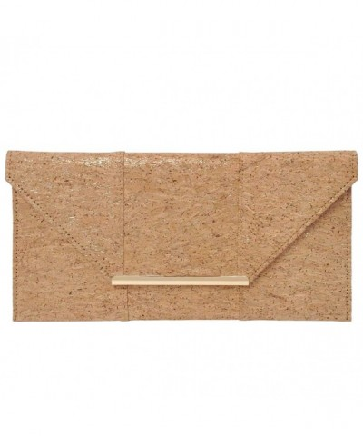 Natural Cork Flat Clutch Gold