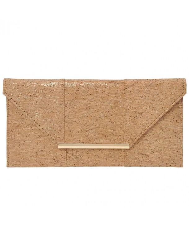 Natural Cork Flat Clutch Gold