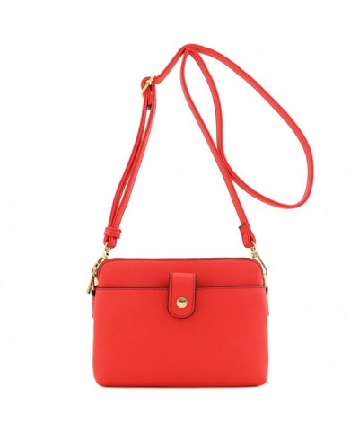 Double Compartment Small Crossbody Coral
