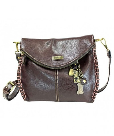 Charming Crossbody Chala Leather Brown Metal