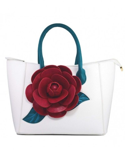 Handbag Flower Leather Vanillachocolate Medium