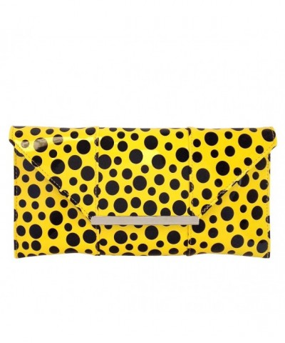 Polka Patent Envelope Clutch Yellow