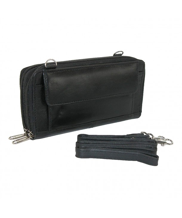 CTM Leather Zip Around Organizer Attachable