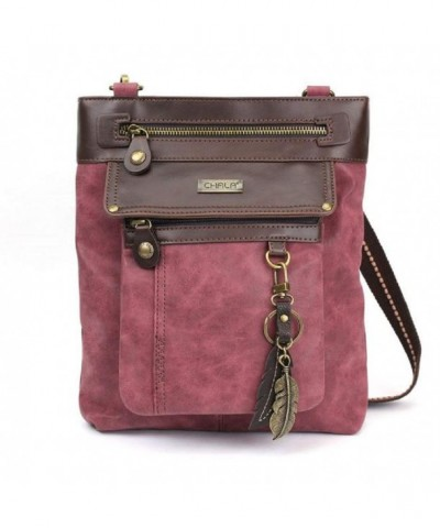 Crossbody Leather Messenger Burgundy Feather