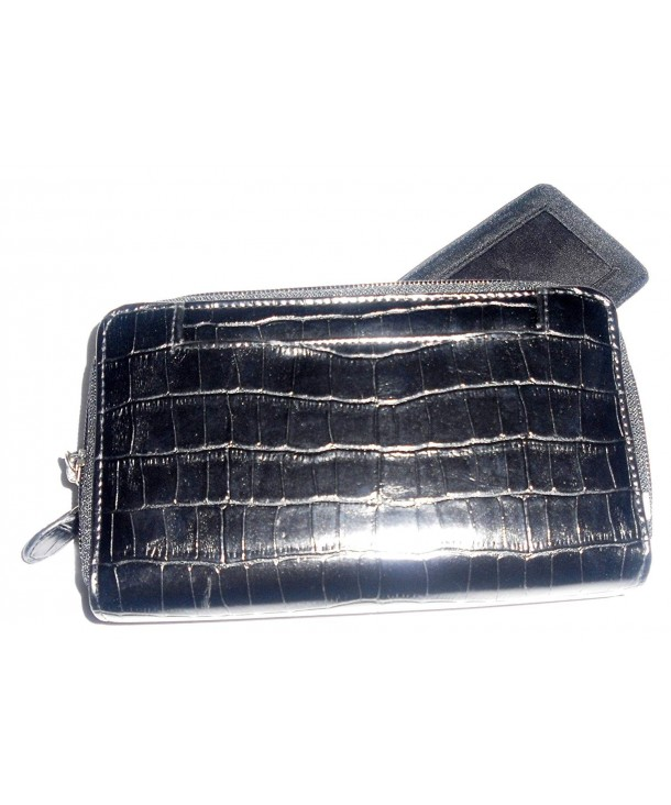 Black Moc Croc Big Wallet