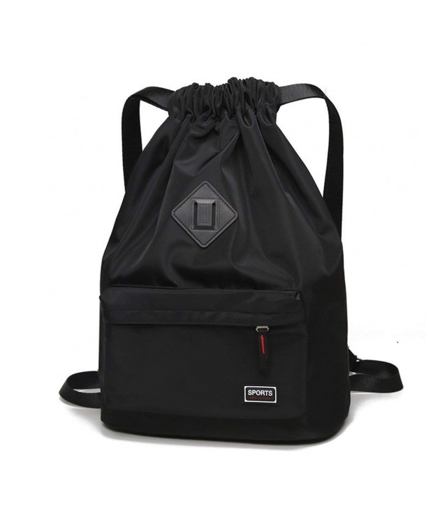 0077bf9018b Drawstring Gym Bag- Men Women Waterproof Drawstring Backpack Yoga Bag - Gym  Drawstring Bags Black - CC18D5MT9Z9