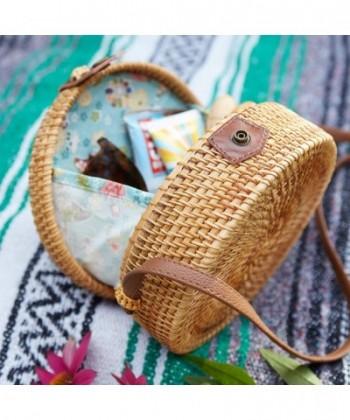 371f77762883 Rattan Bag Round Handwoven Shoulder Leather Strap Crossbody Straw ...