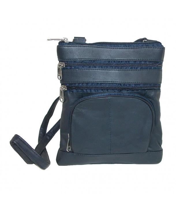 Leather Impressions Organizer Crossbody Handbag
