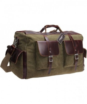 Canvas Leather Weekender army green