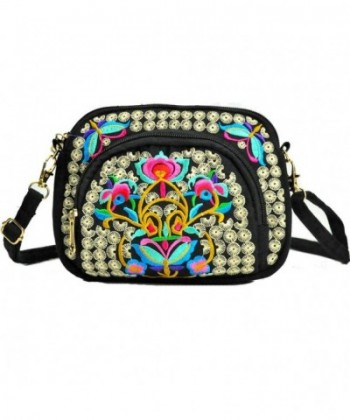 Embroidery Canvas Shoulder Messenger Handbags