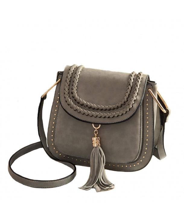 d11a32031b Vintage Faux Nubuck Braid Tassels Saddle Bag Cross Body Bags - Grey ...