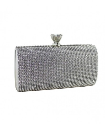 Crystals Evening Minaudiere Clutch Silver
