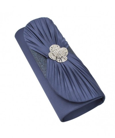Elegant Pleated Crystal Clutch Evening