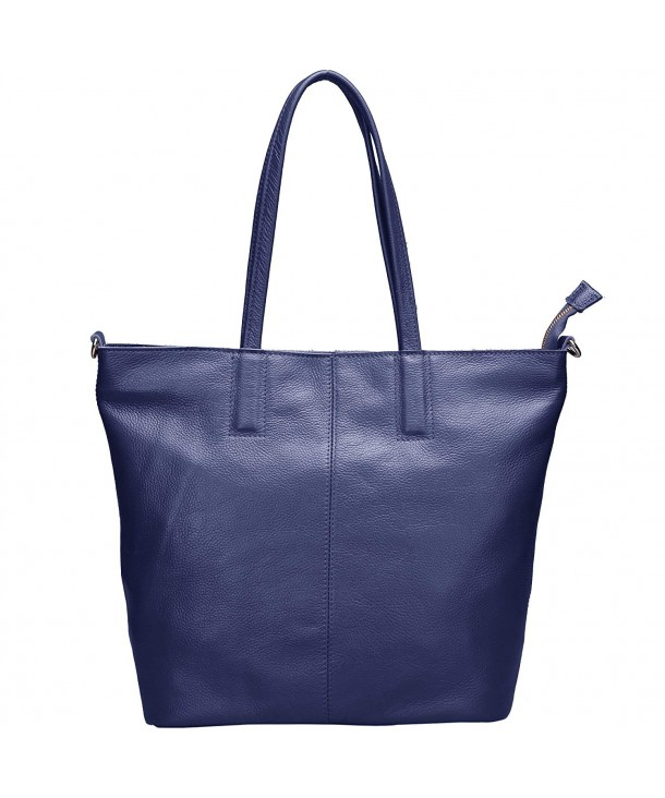 566590a39450 Women s Soft Leather Tote Bag with Shoulder Strap - Dark Blue ...