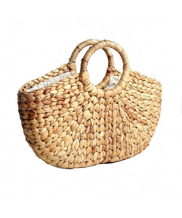 e423ab6d58e3 Handmade Straw Bag Women Round Handle Summer Beach Purse and Handbags A -  C018DUM6QYS
