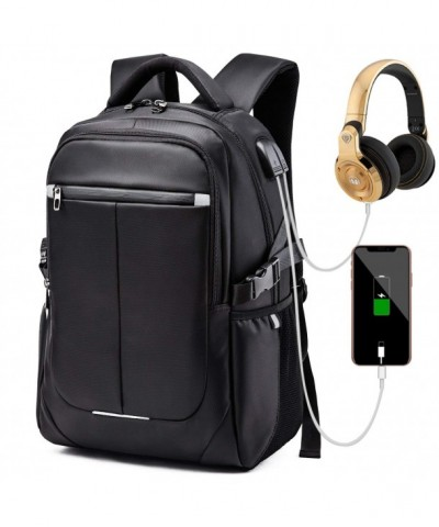 Backpack Waterproof Headphone Interface Laptop Black