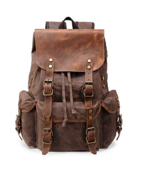 Waxed Canvas Backpack For Men Vintage 15 6 Laptop Bookbag Leather Rucksack Travel Large Coffee C5180iwwgs4