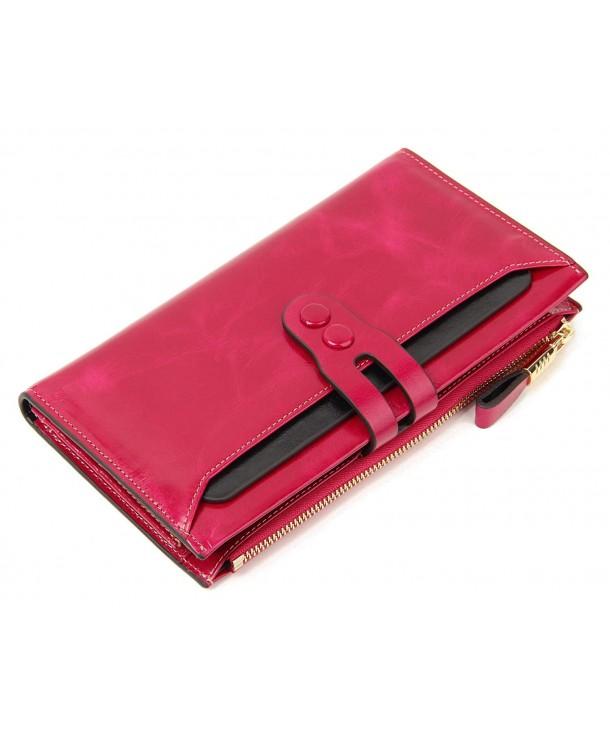 4b5eda8da58d ... Wallet Large Capacity Luxury Zip Pocket Clutch - Rose - C812O76MW1K.  SUIMIUS Womens Genuine Leather Capacity