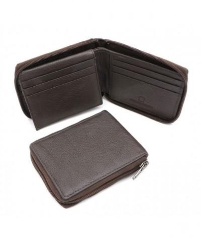 Bifold Genuine Leather Zip Around Wallet