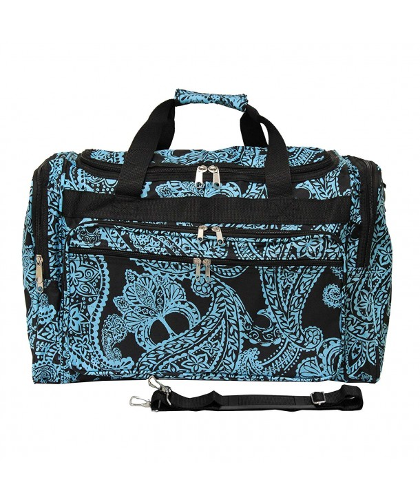 Luggage Duffle Black Blue Paisley