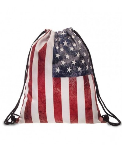 BESSKY American Printing Drawstring Backpack