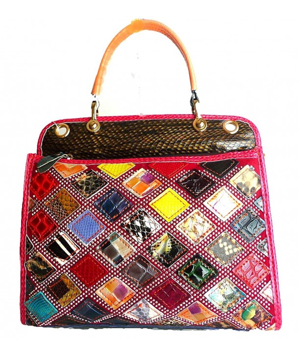Multicolored Snakeskin Genuine Leather Satchel