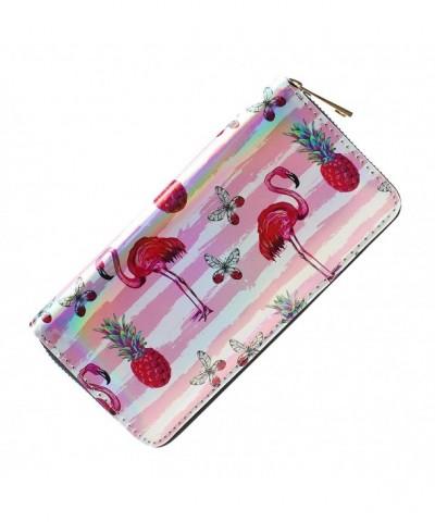 Holographic Clutch Wallet Zipper Flamingo