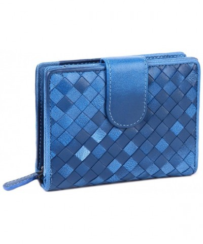 Borgasets Womens Leather Bifold Blue