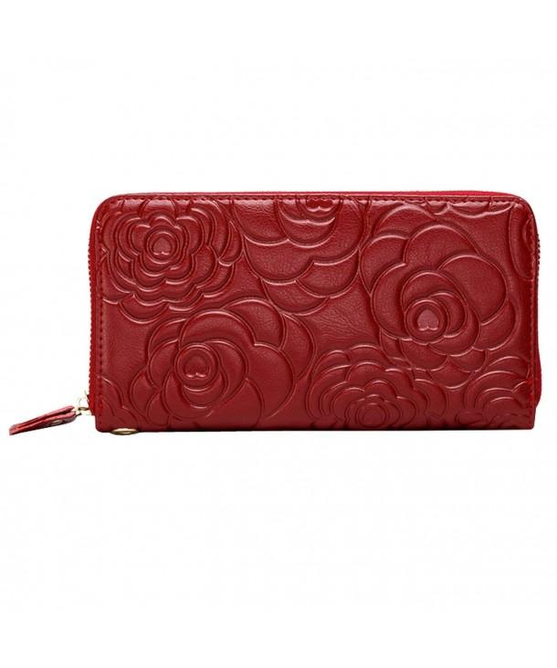 Leather Zipper Wallet Embossing Wristlet