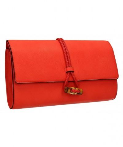 Sophia Leather Flapover Clutch Bag