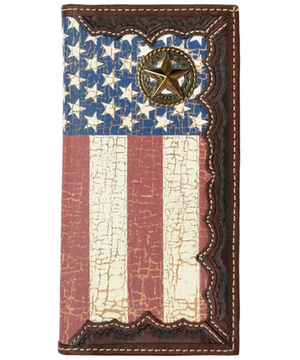 249c9280026 Custom Fancy Garland Star American Flag Long Wallet with Distressed ...