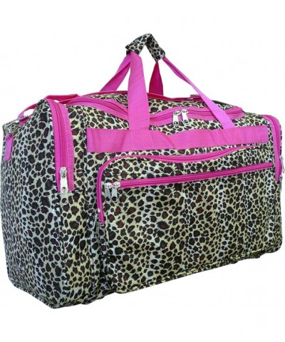 Women Fashion Duffel Leopard Pink Trim