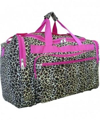Women Fashion Duffel Leopard Pink Trim