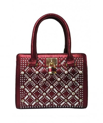 Satispac Pattern Crystal Handbag Burgundy