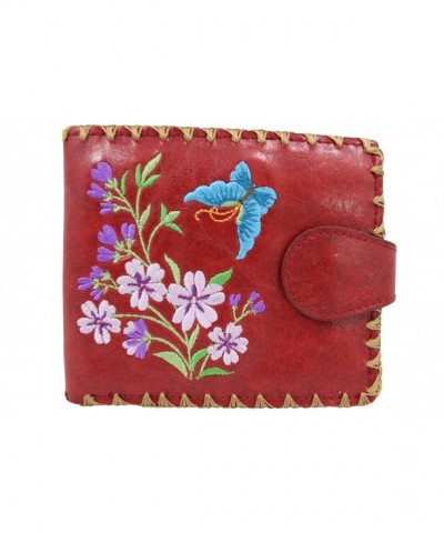 Lavishy Flower Butterfly Embroidery Leather