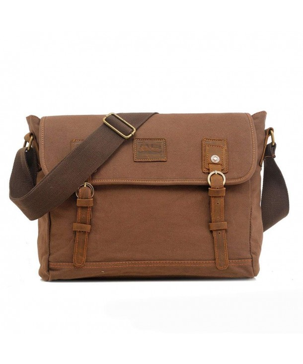 1cee09aa27 ... Womens Vintage Canvas Crossbody Shoulder Messenger Bags With Genuine  Leather Deco - Coffee - CZ11OI0Q78J. Vintage Crossbody Shoulder Messenger  Genuine