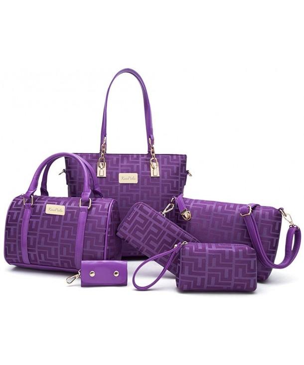 8ccfda704e8e59 ... Tote Bag for Work Handbag and Purse 6 Piece Set Bag - Purple -  CI18CRCNYZC. Women Shoulder Handbag Purse Purple