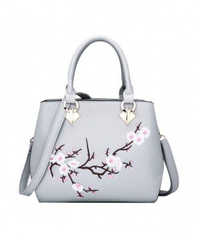 Donalworld Flower Handbag Embroidery Leather
