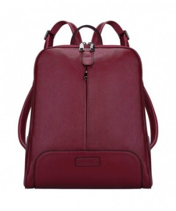 5719edcb0 S-ZONE Women Genuine Leather Backpack Purse Travel Bag Fit 14-inch ...