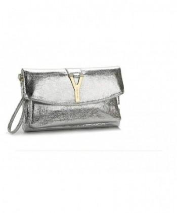 Buckle Shining Cross Handbag Silver