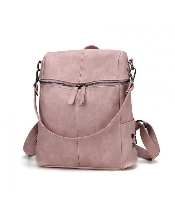 Women Backpack Purse Pu Washed Leather Anti Theft Las Rucksack School Shoulder Bag Pink Cn18i8czm95