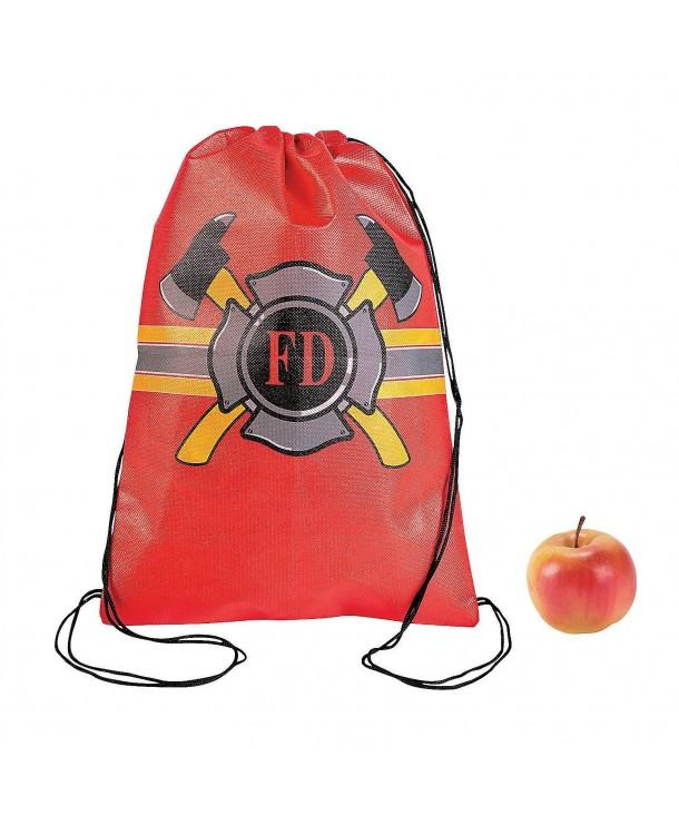 Firefighter Drawstring Backpacks 12 ct